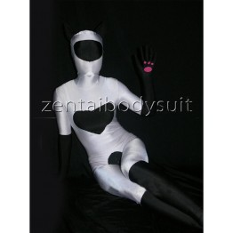 Black And White Lycra Spandex Fullbody Zentai Suit