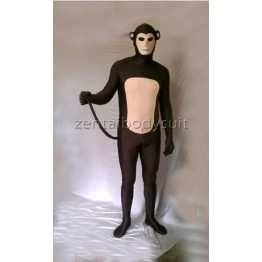 Dark Brown And Flesh Monkey Lycra Spandex Fullbody Zentai Suit