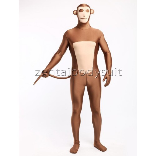 Light Brown And Flesh Monkey Lycra Spandex Fullbody Zentai Suit