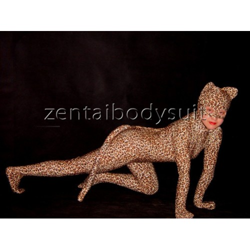 Lycra Spandex Leopard Pattern Tailed Zentai Catsuit