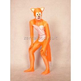 Orange Sonic Zentai Lycra Costume with Tail