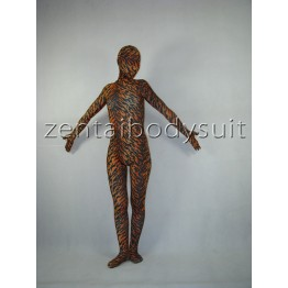 Unisex Fullbody Tiger Pattern Hooded Spandex Zentai Catsuit