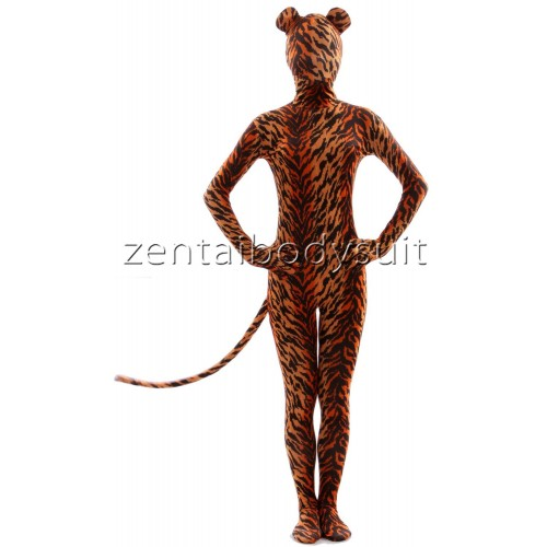 Unisex Tiger Print Full Body Suit Zentai with Ear And Tail