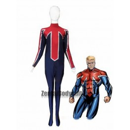 Captain Britain Costume Blue And Red Spandex Superhero Suit