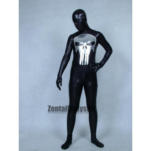 Punisher Costume Black Shiny Metallic Superhero Costumes