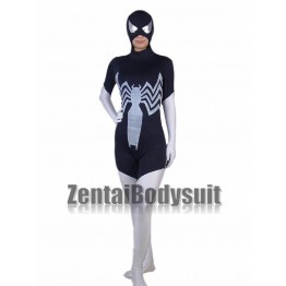 Black White Lycra Spandex Spiderman costume