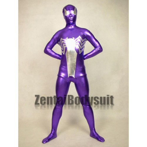 Purple And White Metal Spider Man Costume