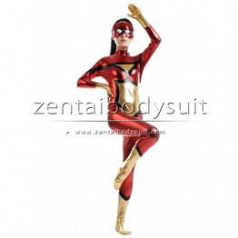 Red With Gold Shiny Metallic Spiderwoman Costume
