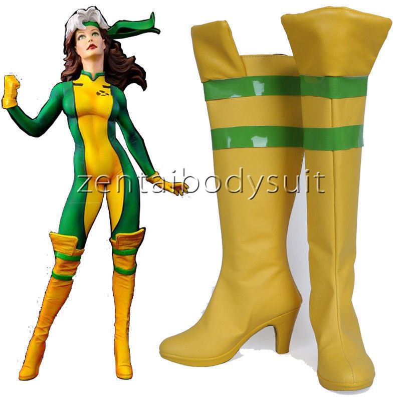 Rogue Yellow Boots Cosplay Shoes Boots Anna Marie Shoes HH.2016 X-Men Ms New