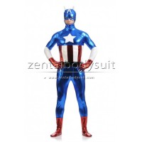Shiny Metallic Captain America Superhero Costume Zentai Suit