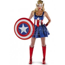 American Dream Sassy Deluxe Sexy Captain America Superhero Halloween Costume