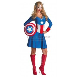 Blue Captain America Femmes Adultes Costume Marvel Comics Lycra Spandex Costumes