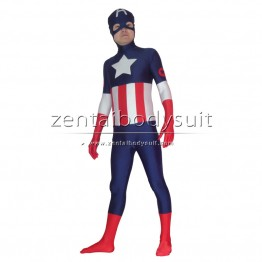 Captain America Costume Lycra Spandex Custom Superhero Zentai Suit