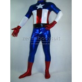 Captain America Costume Shiny Metallic Superhero Zentai Suit