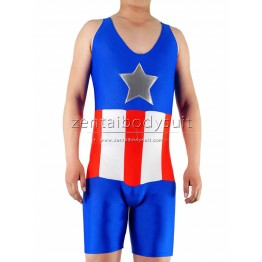 Lycra Spandex Captain America T-Shirt Zentai Tights Suit