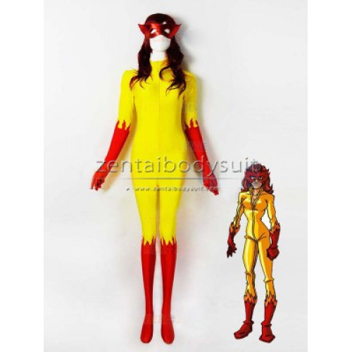 Marvel Comics Firestar Costume Spandex Superhero Cosplay Zentai Suit