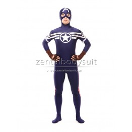 Navy Blue And Red Captain America Superhero Costume