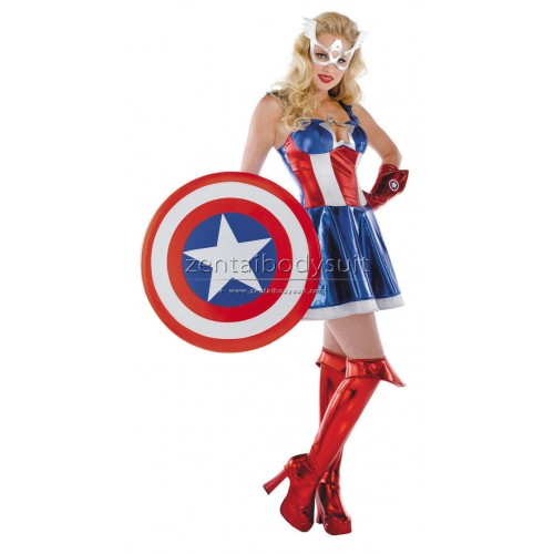 Style Female Captain America Costume Superhero Suit
