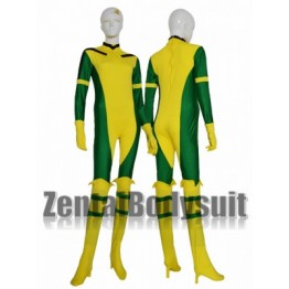 Rogue X Man Green And Yellow Super Hero Lycra Spandex Catsuit