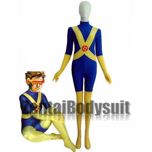 Blue And Yellow X-Men Cyclops Lycra Spandex Superhero Costume