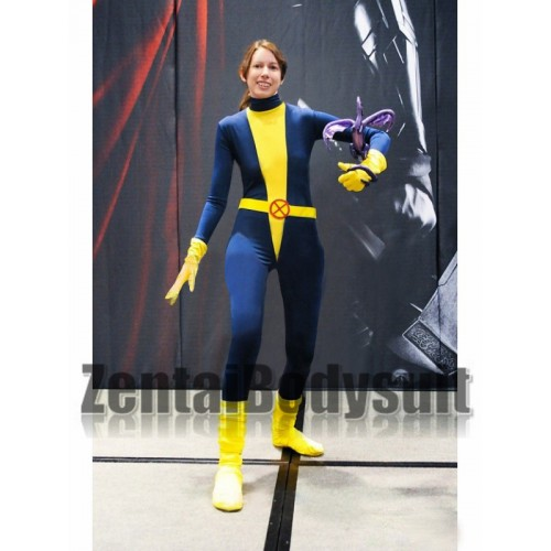 Blue Yellow Kitty Pryde Spandex Superhero Costume