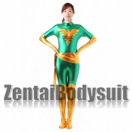 Green X Men Dark Phoenix Shiny Metallic Superhero Costume