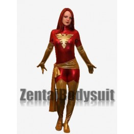 Red Shiny Metallic X-Men Dark Phoenix Superhero Costume