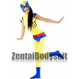 Yellow And Blue X-men Female Wolverine Superhero Costume