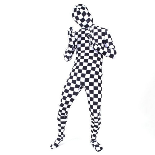 Black And White Square Lycra Spandex Zentai Morph Suit