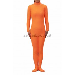 Orange Unisex Lycra Spandex Zentai Catsuit No Hood